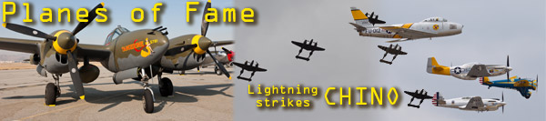 Chino  Planes of Fame Airshow 2013 - PoF - P-38 Lightning strikes Chino